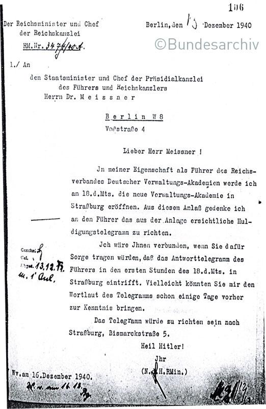 Ein Akt der Inszenierung – Reichs- und Präsidialkanzlei bereiten die Übermittlung des Hitler-Telegramms intern vor (13. Dezember 1940), BArch R43/4212, Bl. 103