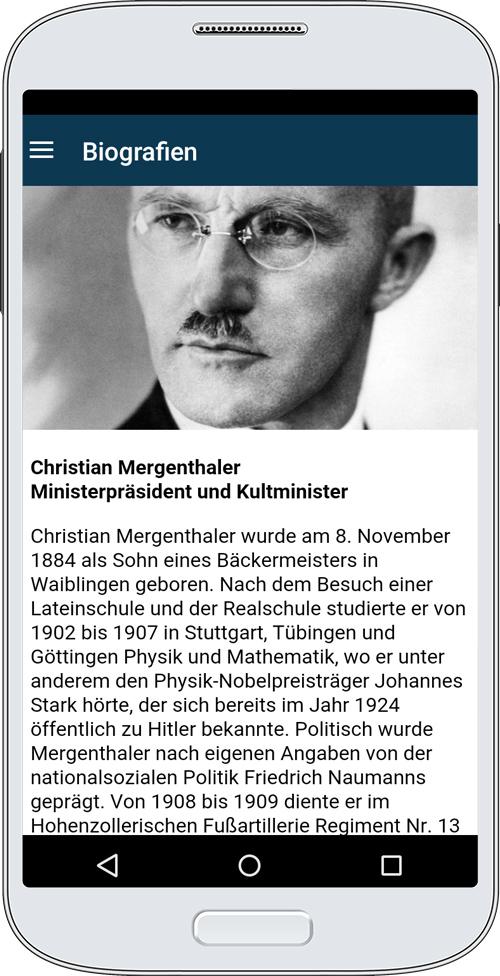 Die App bietet unter anderem Informationen zu den badischen und württembergischen Ministern in der Zeit des Nationalsozialismus