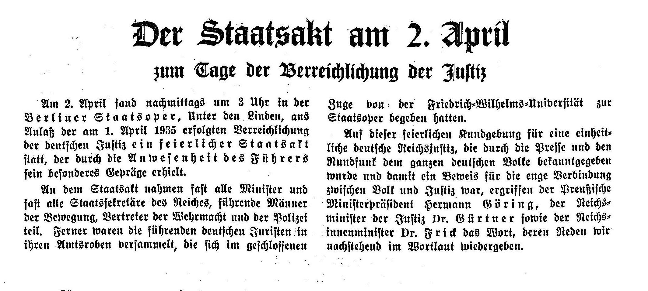 """Der Staatsakt und die gehaltenen Reden anlässlich der """"Verreichlichung"""" bilden den Leitartikel der Aprilausgabe der """"Deutsche Justiz"""""""