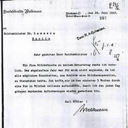 Waldmanns ausführliche Antwort auf Lammers´ Glückwunschtelegramm erfolgt am selben Tag, 20 Juni 1942, Bundesarchiv R43/4055a, Bl. 268