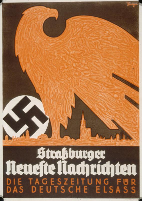 """Werbeplakat für die Zeitung """"Straßburger Neueste Nachrichten"""" (o.D.), BNU Strasbourg 6960"""