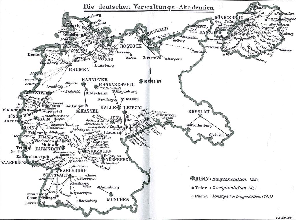 """Beamtenbildung im """"Dritten Reich"""" - Das Netz der Verwaltungsakademien und ihrer Vortragsstätten im Jahre 1936."""