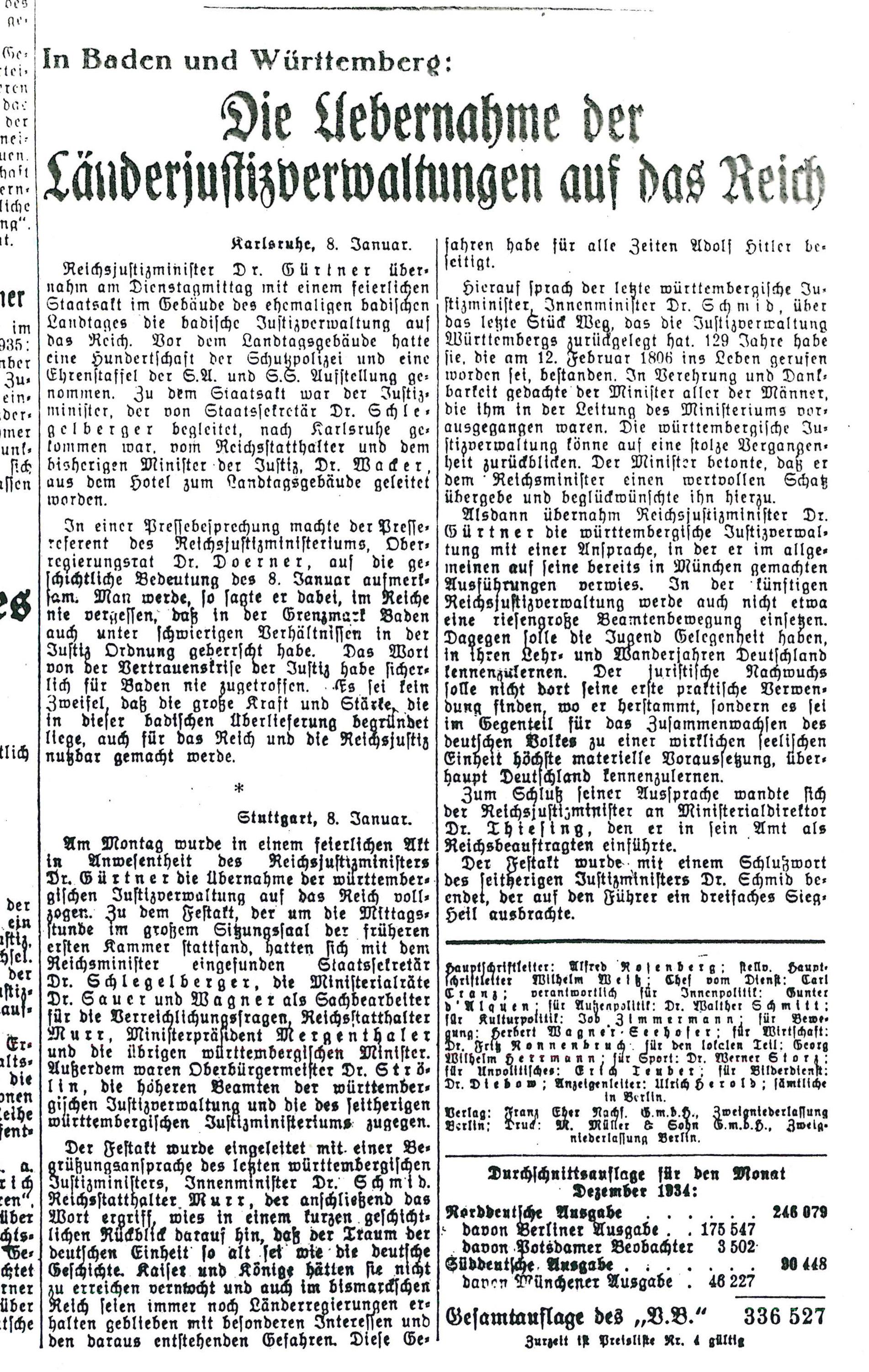 """Der Bericht im """"Völkischen Beobachter"""" zum Festakt anlässlich der Übernahme der badischen und Württembergischen Justiz im Januar 1935"""