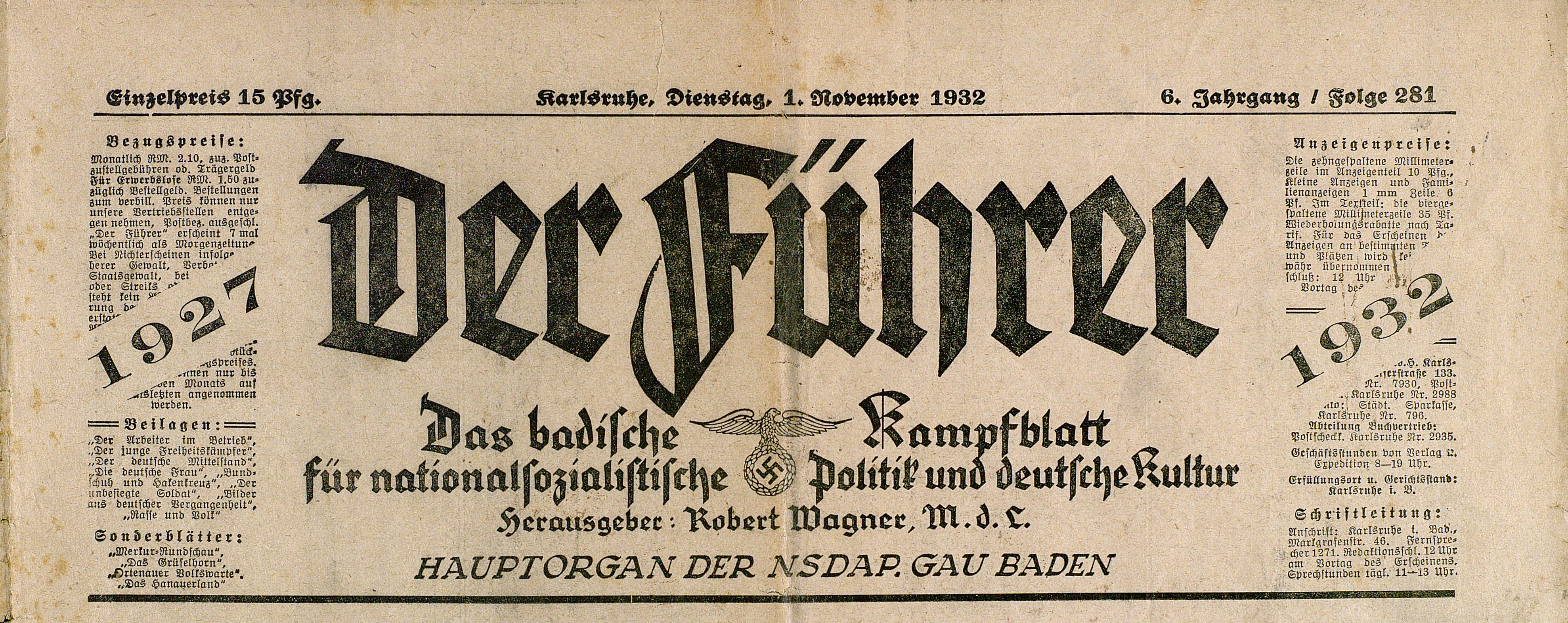 Der Führer 1.11.1932_Titel
